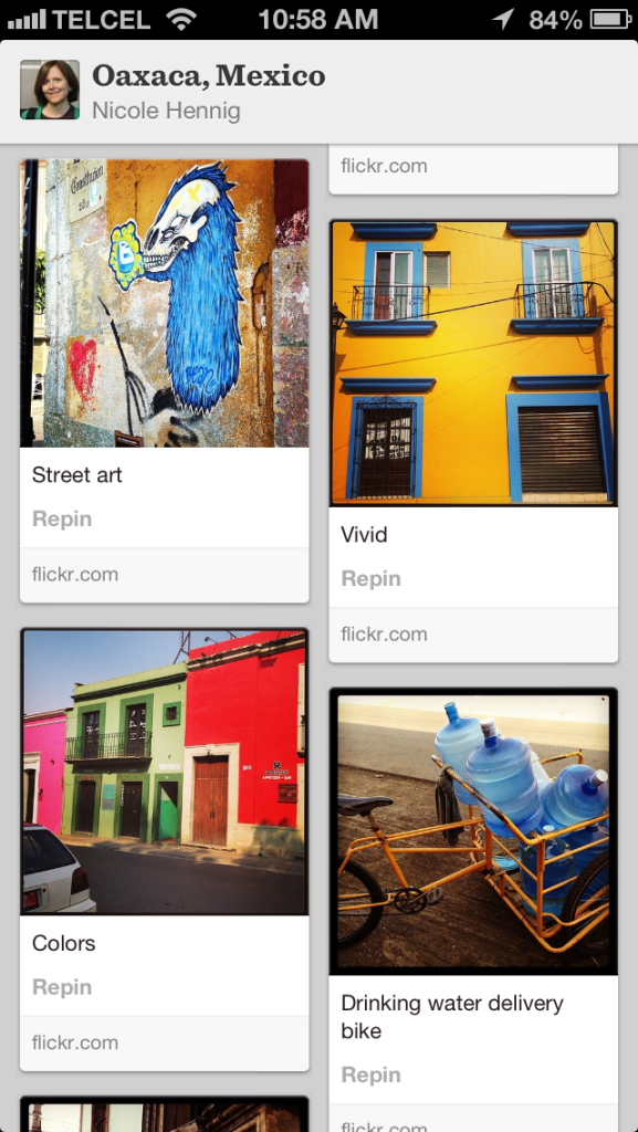 Some Oaxaca photos in Pinterest iPhone app