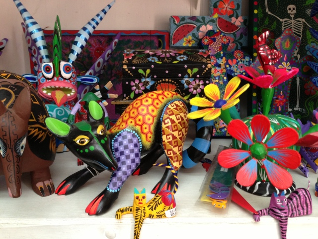 Alebrijes: Oaxacan painted animals.