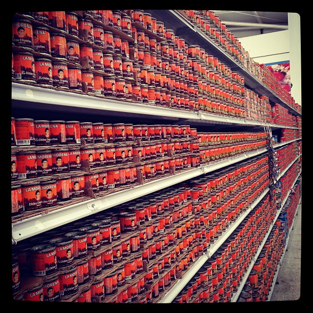 A whole aisle of canned chiles