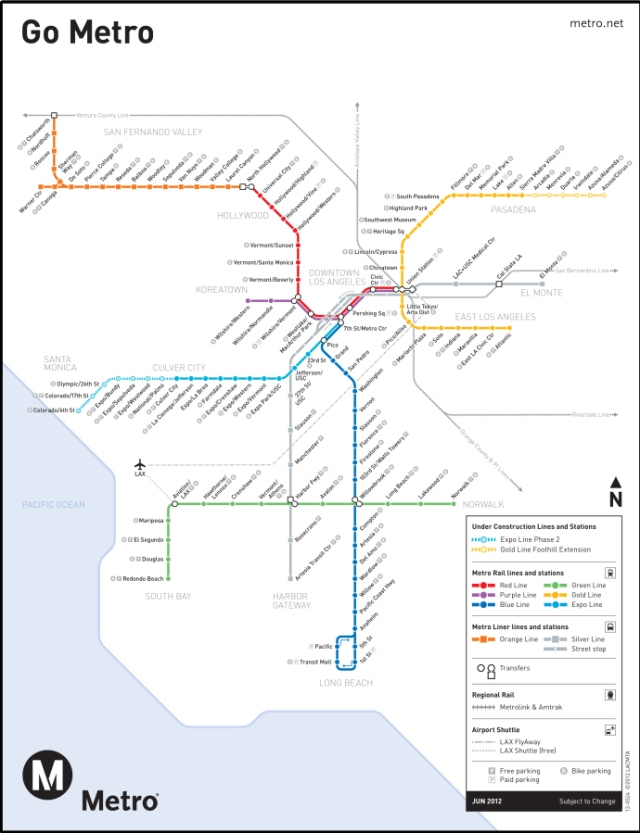 Metro System map for LA