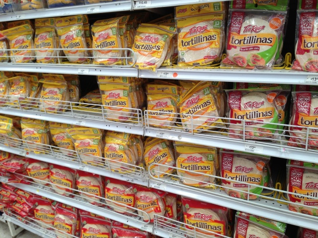 Only wheat tortillas in the supermarket