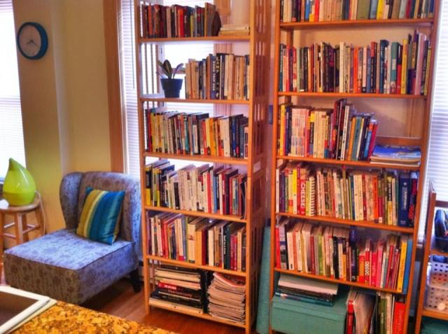 My last two shelves of books at the end of 2012.