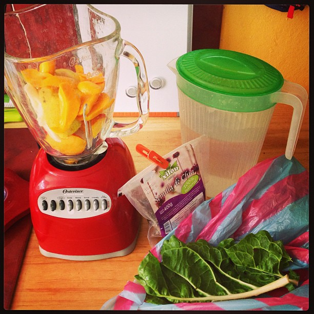 Smoothie made with mango, frozen banana, nectarine, water, and swiss chard.