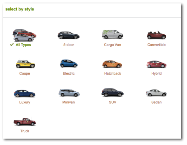 Choose the kind of vehicle you want each time.
