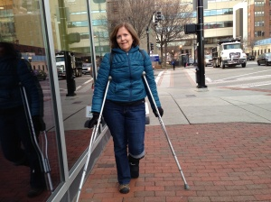 Getting around with crutches and walking boot (before it snowed).