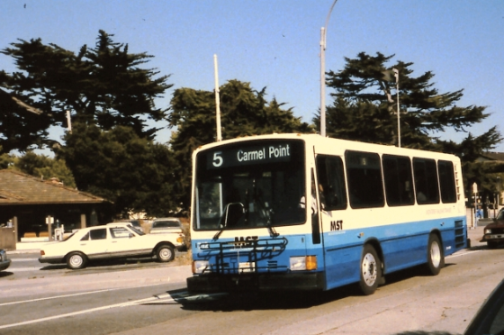 A typical city bus in Monterey.