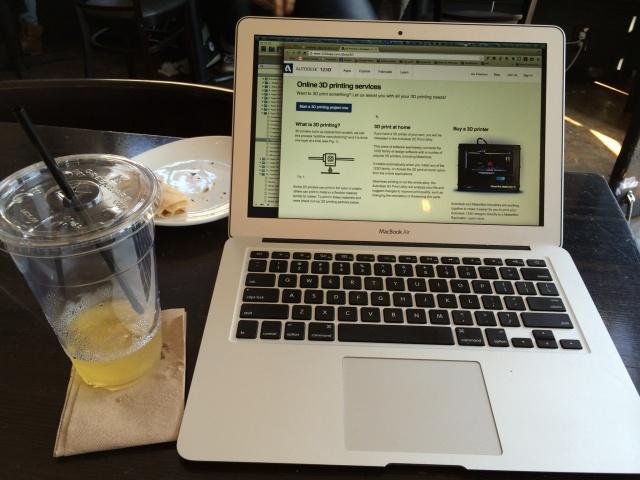 MacBook Air and iced tea