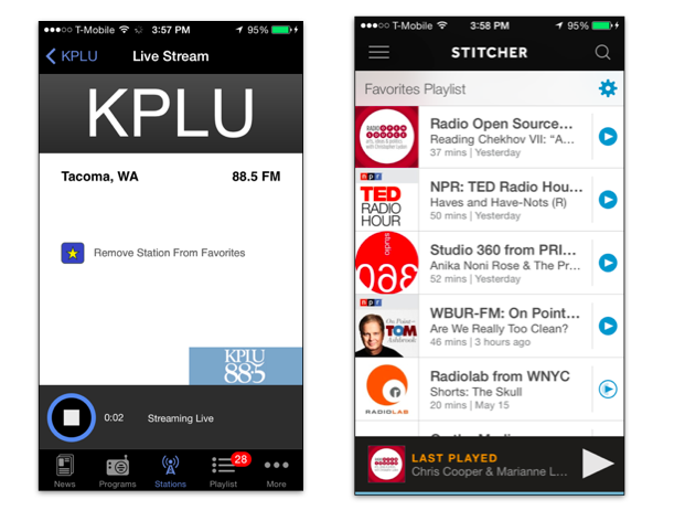 NPR News and Stitcher iPhone apps