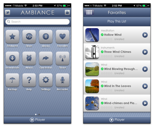 Ambiance for iPhone - white noise generator
