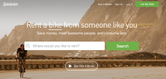 Spinlister: rent a bike from someone like you.