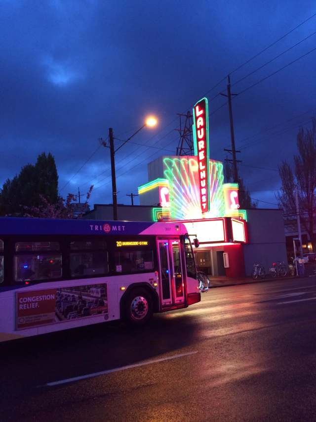 Bus in front of Laurelhurst Theatre.