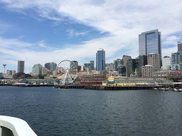 View of downtown Seattle from the ferry to Bainbridge Island.