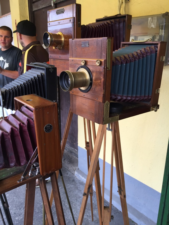 Old cameras at the flea market.