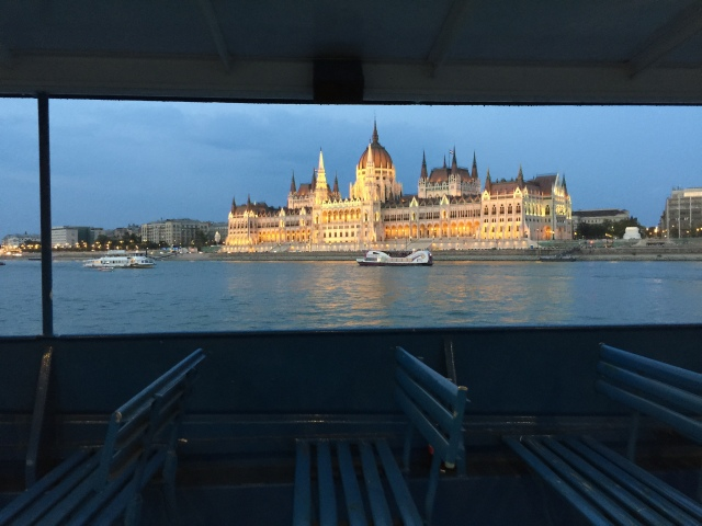 Parliament viewed from a riverboat.