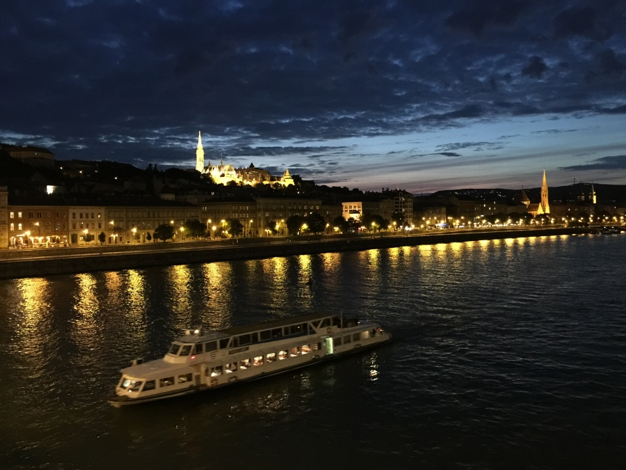 riverboat on the Danube at night