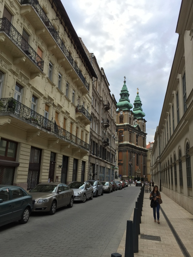 A street view in Budapest.