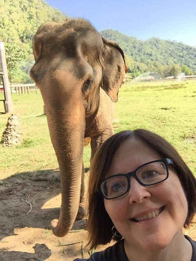 Nicole with elephant