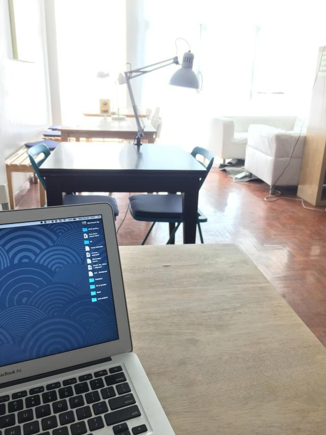 inside a sunny coffee shop