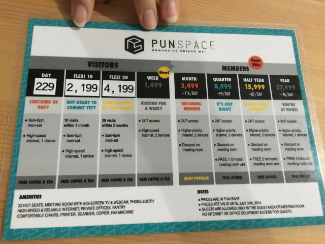 Rate card at Sunspace coworking.