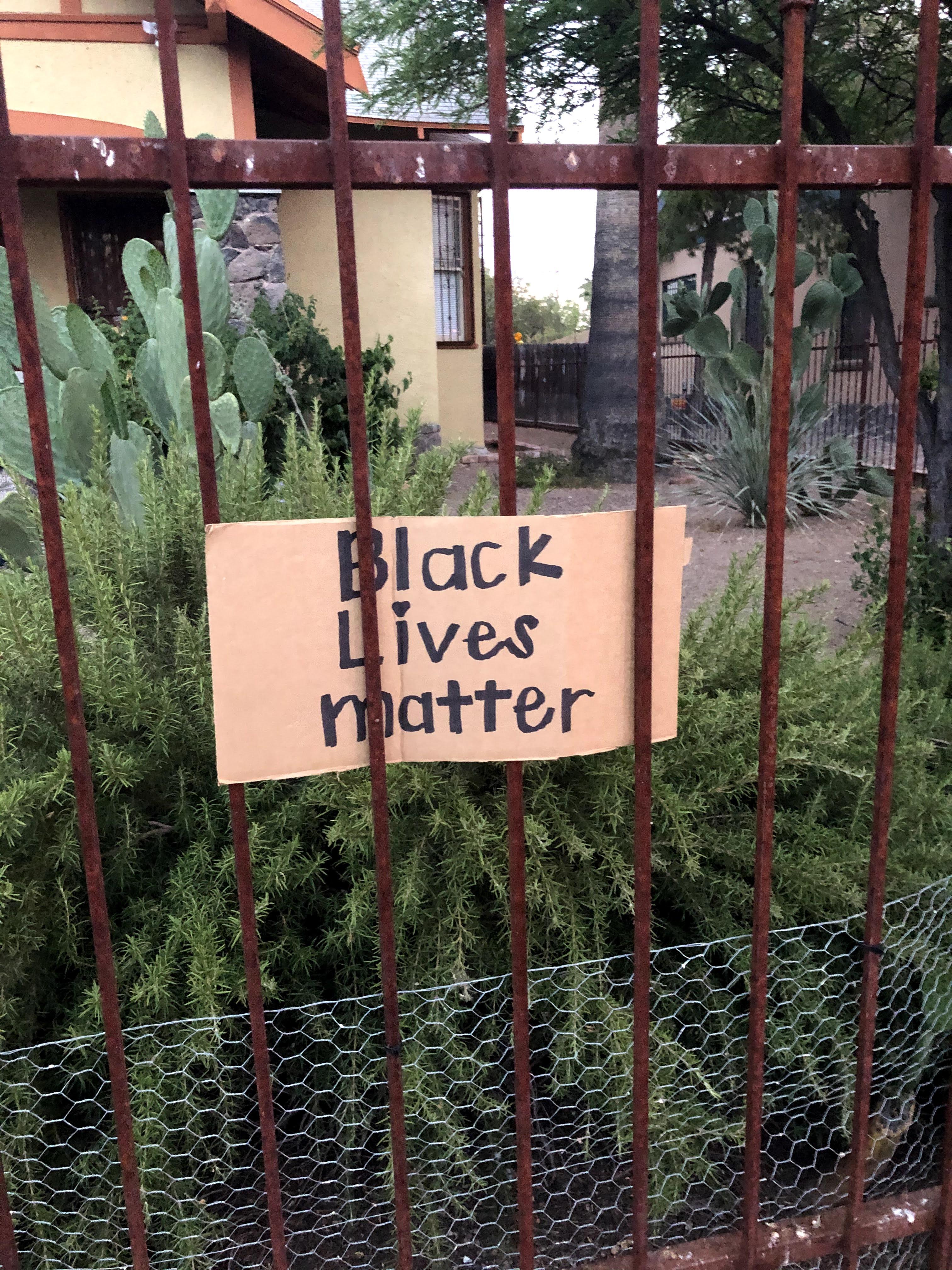 Black Lives Matter sign on a fence.