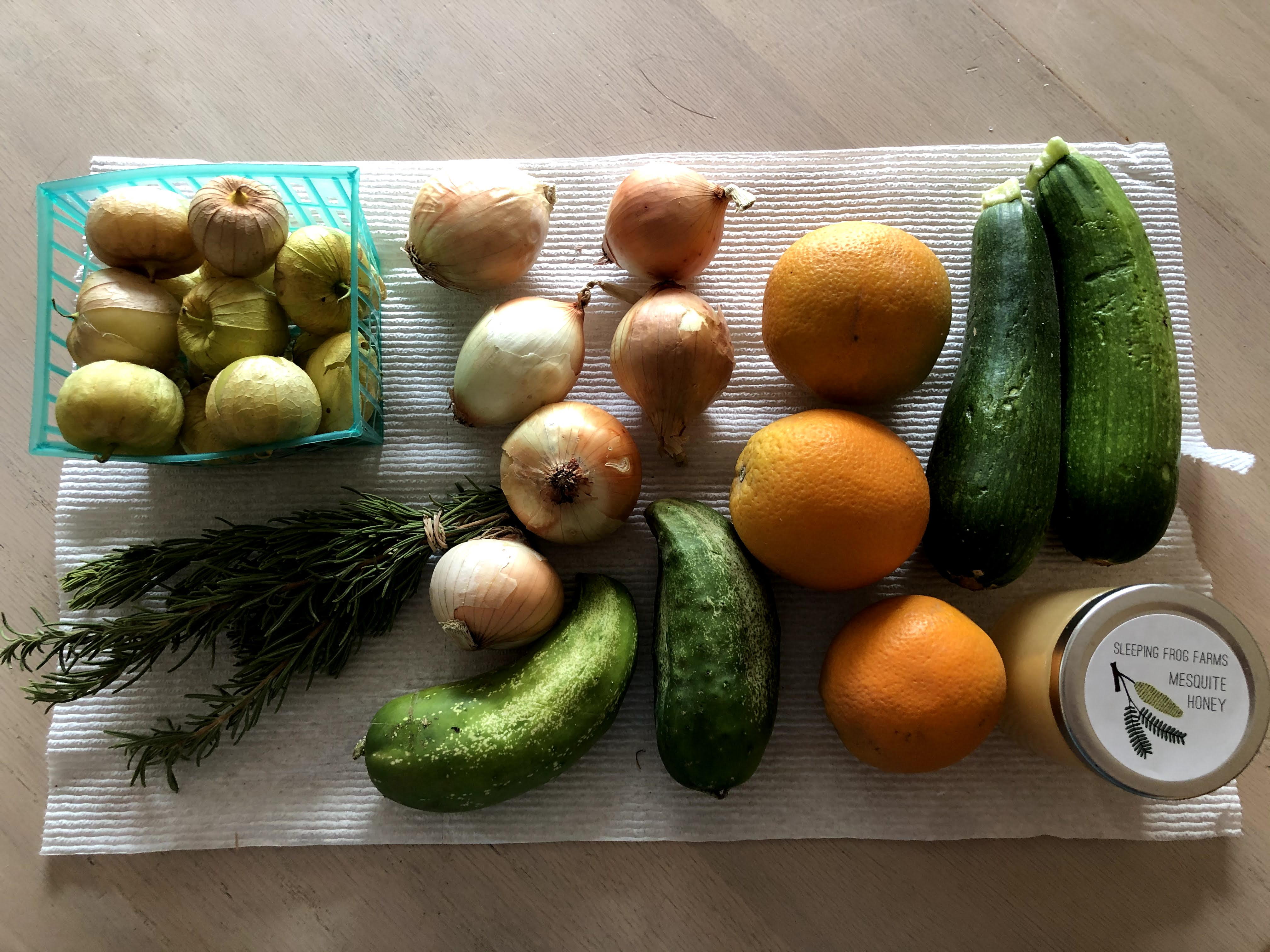 vegetables and fruit and honey