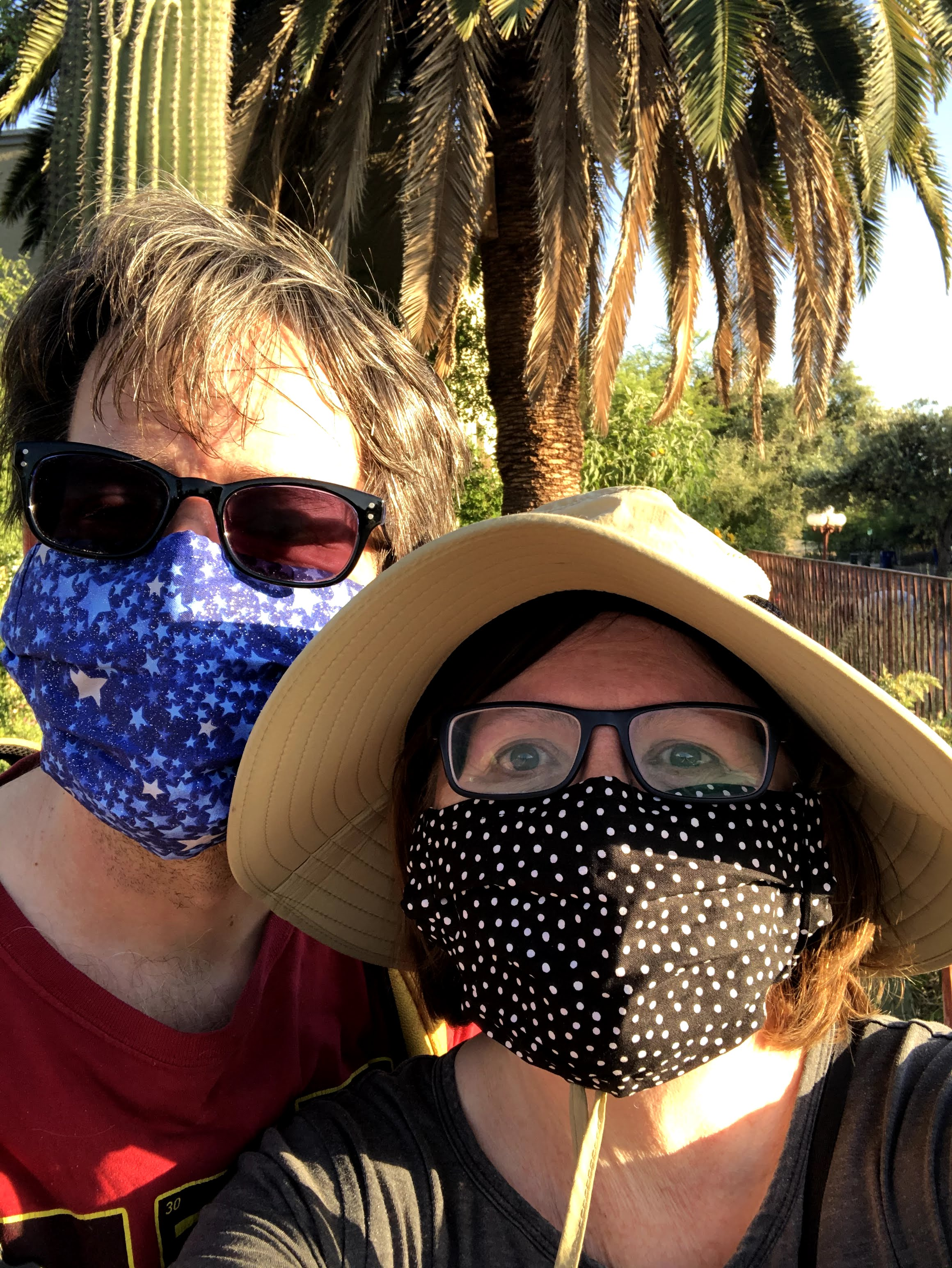 James and Nicole with face masks from Etsy.
